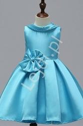 Sukienka dla dziewczynki w kolorze błękitnym w stylu jackie kennedy