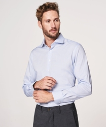 Elegancka błekitna koszula męska taliowana, slim fit o splocie typu panama 43