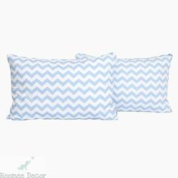 Poduszka dekoracyjna 60x40 - zygzaki - niebiesko-białe