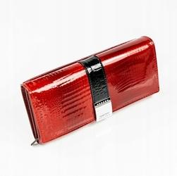Skórzany lakierowany portfel damski czerwony lorenti 177-2c - czerwony