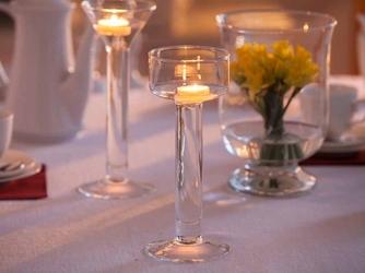 Świecznik szklany na nóżce dekoracyjny na pływające świeczki  tealighty edwanex 25,5 cm