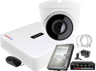 Monitoring zestaw do firmy, domu hikvision hiwatch rejestrator ip hwn-2104 + 1x kamera fullhd hwi-t220 + akcesoria