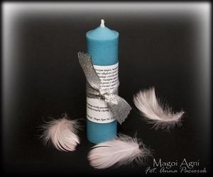 Świeca archanielska - anioł stróż – błękitna, zapach fiołków