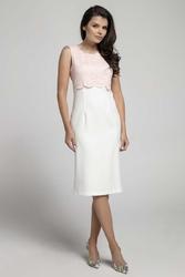 Ecru różowa elegancka dopasowana sukienka bez rękawów z koronką