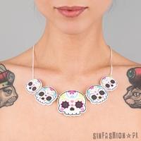Naszyjnik punky pins - sugar skull