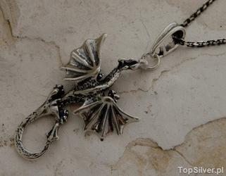 Dragon - srebrny wisior smoka