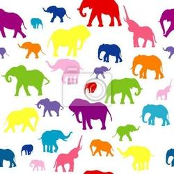 Naklejka jednolite tło z kolorowych słoni sylwetki