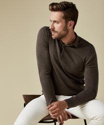 Elegancki ciemnoszary sweter polo z długimi rękawami  xl