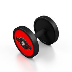 Hantla stalowa gumowana 7,5 kg czerwony połysk - marbo sport - 7,5 kg