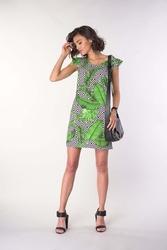 Prosta sukienka z falbankami na ramionach - liście