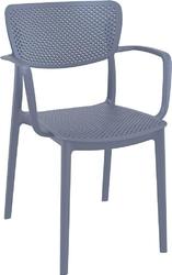 Krzesło loft z podłokietnikami szare - szary