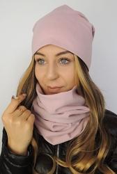 Jesienno-zimowy komplet czapka i komin damski – różowy