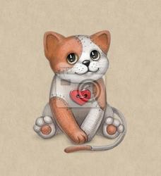 Plakat ilustracja zabawki cat. idealne dla karty