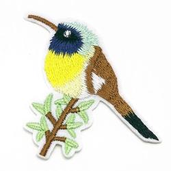 Naprasowanka termo aplikacja kolorowa ptak gałązka