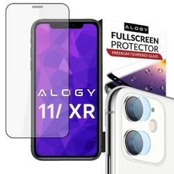 Szkło alogy full glue case friendly do apple iphone 11 czarne + szkło alogy na obiektyw