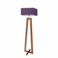 Lampa podłogowa jawa abażur fioletowy stelaż mahoniowy - fioletowy