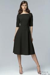Czarna Wizytowa Midi Sukienka z Szerokim Dołem z Rękawem 12