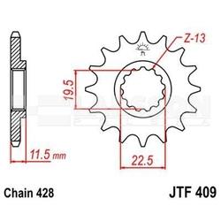 Zębatka przednia jt f409-14, 14z, rozmiar 428 2201455 suzuki dr 125