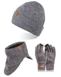 Szara czapka ciepły komin rękawiczki męskie zestaw