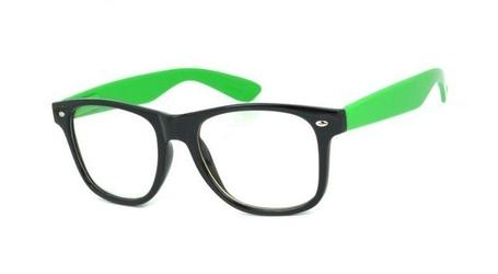 Okulary nerdy zerówki  zielone 2072c
