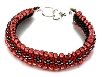 Bransoletka koraliki czerwona