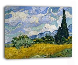 Pole pszenicy z cyprysami - vincent van gogh - obraz na płótnie wymiar do wyboru: 120x90 cm