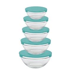 Miseczki  salaterki szklane z miętowymi pokrywkami altom design, komplet 5 misek szklanych