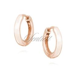 Srebrne kolczyki kółka - różowe złoto - różowe złoto