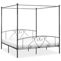 Vidaxl rama łóżka z baldachimem, szara, metalowa, 200 x 200 cm