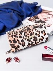 Pojemny portfel damski milano design biało - brązowy - biały