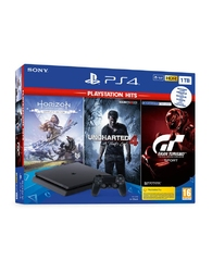 Konsola sony ps4 slim 1tb + gran turismo sport + uncharted 4 + horizon zero dawn