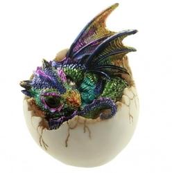 Smocze jajo i kolorowe smoczątko - figurka fantasy
