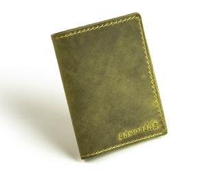 Skórzany cienki portfel slim wallet z bilonówką brodrene sw04 oliwkowy - oliwkowy