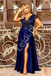 Granatowa suknia wieczorowa z krótkim koronkowym rękawem crystal 2