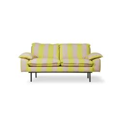 Hkliving sofa retro 2-osobowa w paski żółto-cieliste mzm4903