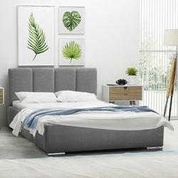 Tapicerowane łóżko do sypialni malar z pionowymi przeszyciami na zagłówku
