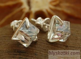 Cristal - srebrne kolczyki z kryształem