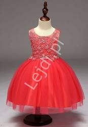 Dziecięca sukienka w kolorze arbuzowym z obfitą tiulową spódnicą dla dziewczynek
