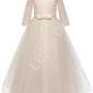 Długa suknia dziecięca w kolorze szampana 022