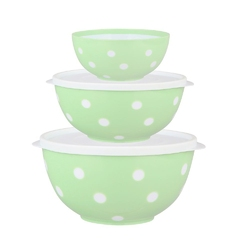 Salaterka  miska plastikowa dwukolorowa berossi zielona, komplet 3 salaterek 0,7 + 1,4 + 2,0 l