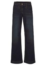 Dżinsy bawełniane z wygodnym paskiem  marlena bonprix ciemnoniebieski denim