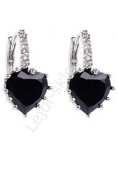 Kolczyki serduszka kryształki, swarovski czarne
