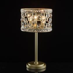 Lampa stołowa klasyczna, złota podstawa, 3-żarówki, kryształy mw-light crystal 121031703