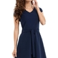Granatowa sukienka z paskiem i krótkim rękawem