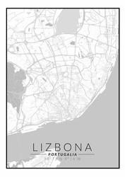 Lizbona mapa czarno biała - plakat Wymiar do wyboru: 50x70 cm