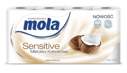 Mola sensitive mleczko kokosowe, papier toaletowy, 3 warstwy, 8 rolek
