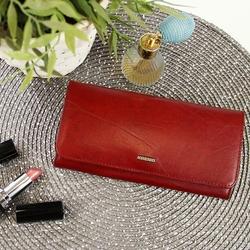 Krenig el dorado 11026 - ekskluzywny czerwony skórzany portfel damski w pudełku - czerwony
