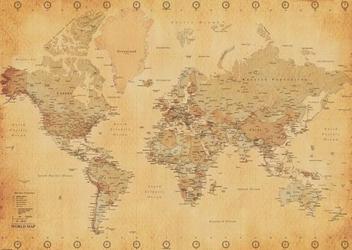 Mapa świata vintage - plakat