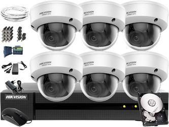 Zestaw do monitoringu firmy, biura hikvision hiwatch hwd-7108mh-g2, 6 x hwt-d340-vf, 1tb, akcesoria