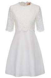 Biała krótka sukienka z koronkową górą, na ślub cywilny, wieczorowa